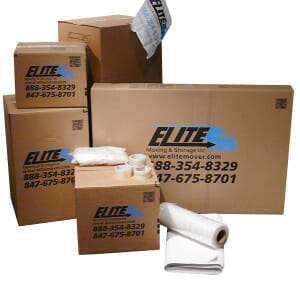 Elite storage cardboard boxes, bubble wrap, packing tape in a pile