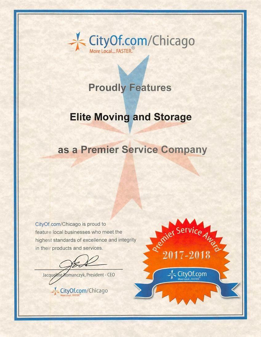 CityOf.com Chicago local business premier service company award certificate
