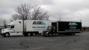 Elite-moving-storage-long distance-trucks-parked-Skokie