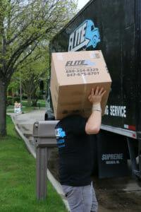 Elite mover carry box on shoulder