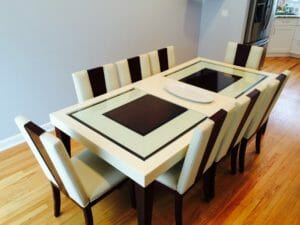 Striped dining table set