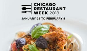 Flyer for Chicago Restaurant Week 2018, seafood, clams, mussels, salad, herbs