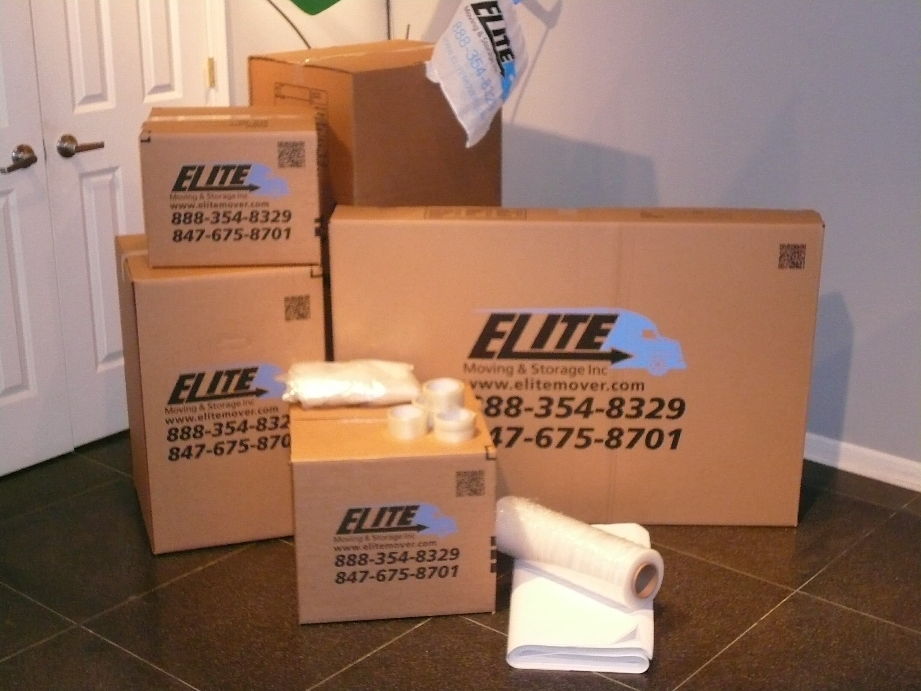 Moving boxes various sizes, packing supplies, Elite logo