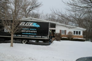 winter snow elite moving truck
