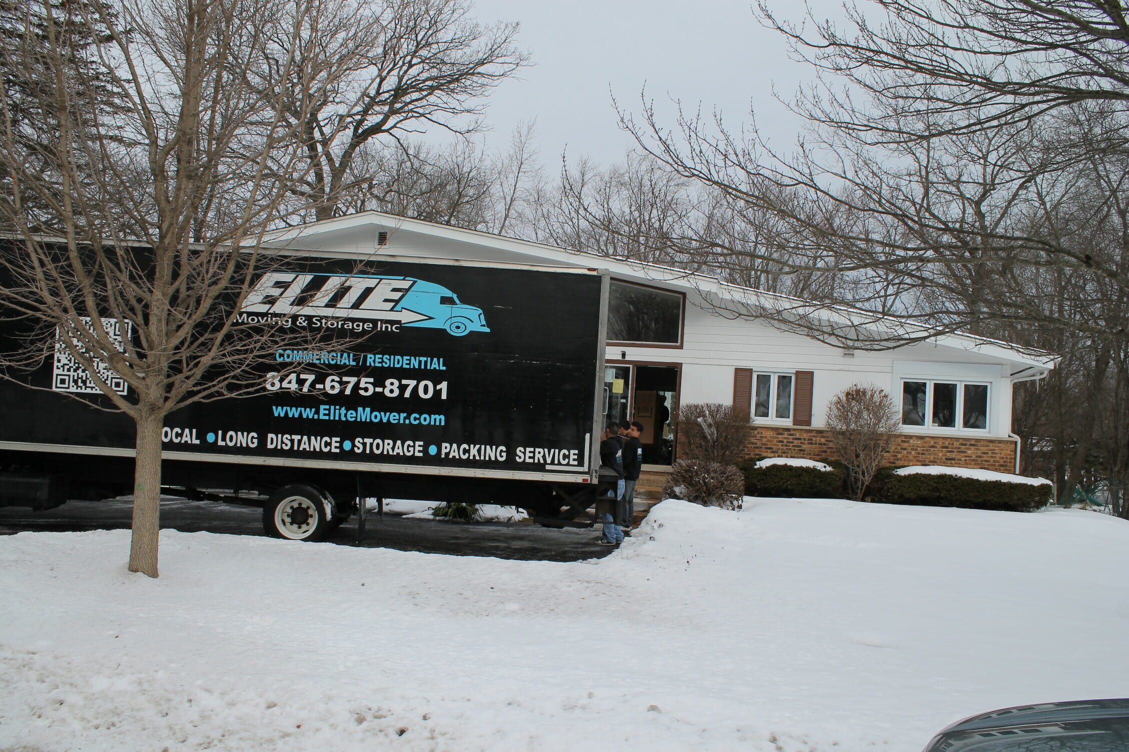 winter snow elite moving truck